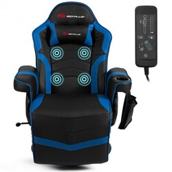 Category: Dropship Massage & Relaxation, SKU #HW63196, Title: Ergonomic High Back Massage Gaming Chair with Pillow-Blue