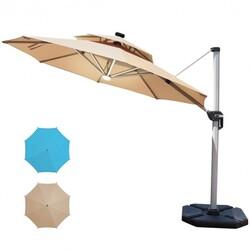 Category: Dropship Accessories, SKU #OP70376, Title: 12ft 360?° Rotation Aluminum Solar LED Patio Cantilever Umbrella-Beige