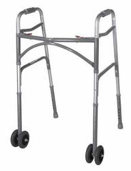 Double Button Bariatric Adult Folding Walker w/Wheels