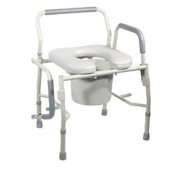 Commode Drop-Arm KD w/Padded Open-Front Seat Tool-Free