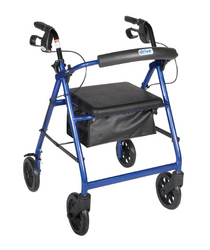 Rollator 4-Wheel with Pouch & Padded Seat Blue - Drive