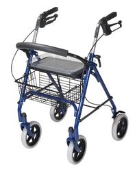 4 Wheel Steel Rollator w/8 Casters & Basket-Loop-Red