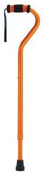 Standard Offset Walking Cane Adjustable Aluminum Orange