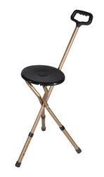 Cane Seat Adjustable w/Nylon Handle Bronze Folding