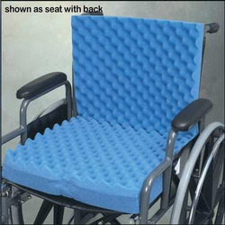 Convoluted Wheelchair Cushion w/Back & Blue Polycotton Cover