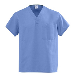 Universal V-Neck Scrub Top Reversible Ceil Blue Small