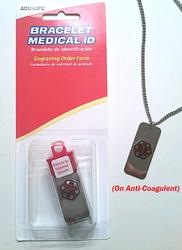 Medical Identification Jewelry Bracelet- On Anti-Coagulant