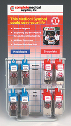Medical Identification Jewelry 24pc with Display Rack