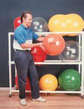 PVC Ball Floor Rack Mobile 3-Shelf w/Casters