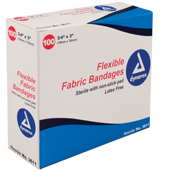 Flexible Fabric Bandages 3/4 x3 Sterile Bx/100