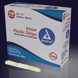 Adhesive Bandages Sheer Strips Sterile 1 x3 100/bx