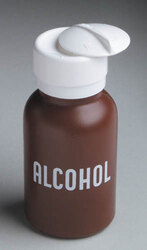 Liquid Push Down Alcohol Dispenser- Labeled