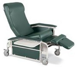 Drop-Arm Care Cliner w/Steel Casters