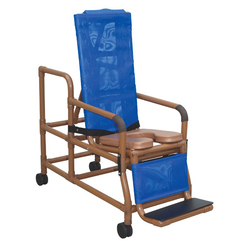 Shower Chair Reclining Tilt-N-Space Wood Tone w/Pail