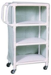 PVC Supply Cart w/ Ergonomic Handles- wt cap: 75lbs./Shelf