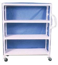 PVC Supply Cart w/ Ergonomic Handles- wt cap: 125lbs./Shelf