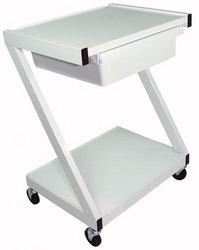 Category: Dropship Medical, SKU #7027B, Title: Z-Cart Steel 2-Shelf w/Drawer White