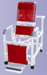 Reclining Shower Chair w/Dlx Elongated Commode Seat PVC