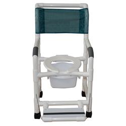 Shower Chair PVC Deluxe w/Folding Footrest & Sq. Pail