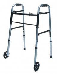 Walker Adult w/ 5 Wheels Folding Blue Case of 2