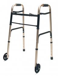 Walker Adult w/5 Wheels Folding Gold Case of 2