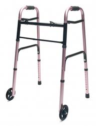 Walker Adult w/5 Wheels Folding Pink Case of 2