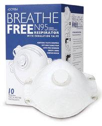 N95 Respirator Mask w/Valve Breathe-Free Bx/10