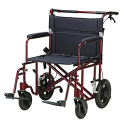 Category: Dropship Medical, SKU #ATC22R, Title: Transport Chair  22  Bariatric Red w/12 Rear Flat Free Wheels