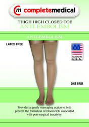 Anti-Embolism Stockings Large 15-20mmHg Thigh Hi Closed Toe