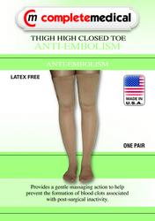 Anti-Embolism Stockings X-Lrg 15-20mmHg Thigh Hi Closed Toe