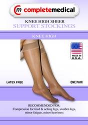 Ladies' Sheer Mild Support Lg 15-20 mmHg Knee Highs Beige