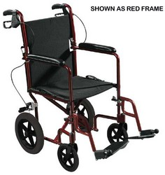 Expedition Aluminum Transport Chair w/Loop Locks 19 Red