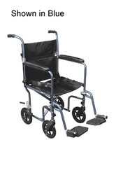 Transport Chair Dlx 19 Red Fly-Weight Alum w/Rem Wheels