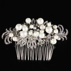 Category: Dropship Wedding & Events, SKU #1060888, Title: Bridal Artificial Pearl Crystal Rhinestone Flowers Diamante Hair Clip Comb Bride Wedding Headpiece