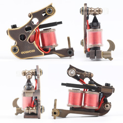 Category: Dropship Tattoos & Body Art, SKU #1061159, Title: OCOOCOO T150A Pure Copper Shader Tattoo Machine Perfect Carving 10000 R/Minute