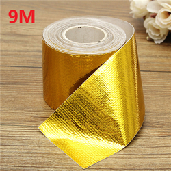 Category: Dropship Tapes, Adhesives & Sealants, SKU #1113412, Title: 9mx5cm Adhesive Reflective Gold High Temperature Heat Shield Wrap Tape Roll