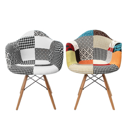 Category: Dropship Hardware & Accessories, SKU #1344108, Title: Patchwork Armchair Dining Room Lounge Fabric Vintage Eiffel Style Chair Multicolor Decorations