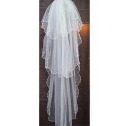 Category: Dropship Wedding & Events, SKU #91886, Title: Long White Wedding Bridal Veils 1.5M Cathedral Sticky Bead Veils