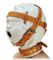 Category: Dropship Adults Only, SKU #AC220-SM, Title: Total Sensory Deprivation White Leather Hood - SmallMedium