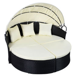 Category: Dropship Pool And Spa, SKU #HW51820+, Title: Outdoor Patio Rattan Round Retractable Canopy Daybed