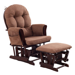 Category: Dropship Baby, SKU #HW54230BN, Title: Adjustable Backrest Baby Nursery Rocking Chair & Ottoman Set-Brown