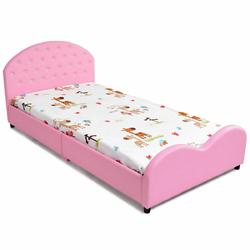 Category: Dropship Baby, SKU #HW59101, Title: Kids Children PU Upholstered Platform Wooden Princess Bed