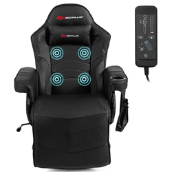 Category: Dropship Massage & Relaxation, SKU #HW63196BK, Title: Ergonomic High Back Massage Gaming Chair with Pillow-Black