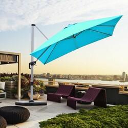 Category: Dropship Accessories, SKU #OP70233NY, Title: 10 Ft 360 Degree Tilt Aluminum Square Patio Offset Cantilever Umbrella-Blue