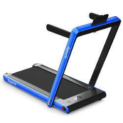 Category: Dropship Exercise & Fitness, SKU #SP37148NY, Title: 2 in 1 Folding Treadmill Dual Display with Bluetooth Speaker-Blue
