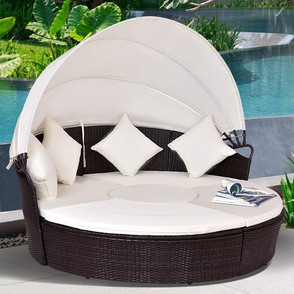 Round Rattan Canopy Cushioned Furniture
