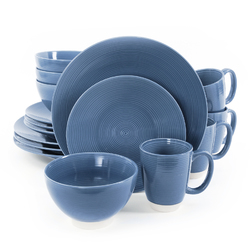 Category: Dropship Dinnerware Sets 18pc Plus, SKU #107291.16, Title: Gibson Rowland 16 Piece Stoneware Round Dinnerware Set in Blue