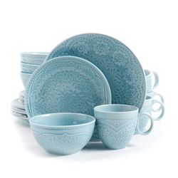 Category: Dropship Dinnerware Sets 18pc Plus, SKU #92456.16, Title: Gibson Elite Alemany 16-Piece Dinnerware Set, Aqua