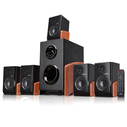 Category: Dropship Sound, SKU #BFS-475W-RB, Title: beFree Sound 5.1 Channel Surround Sound Bluetooth Speaker System -Wood