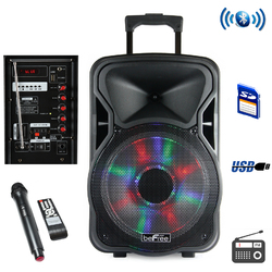 Category: Dropship Bluetooth, SKU #BFS-5800-RB, Title: beFree Sound 15 Inch Bluetooth Rechargeable Party Speaker With Illuminatiing Lights